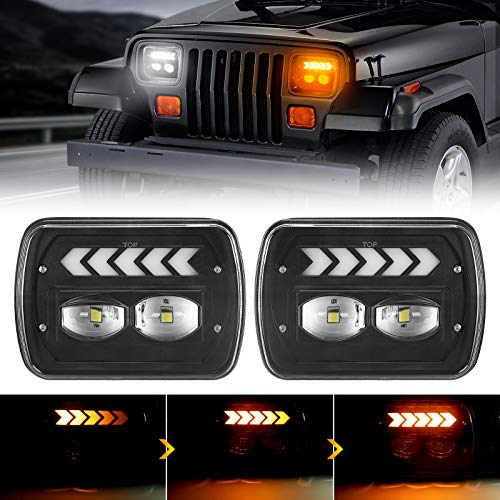 SUPAREE 5x7 7x6 led Headlights Hi/Low with DRL & Sequential Turn Signal Light for Wrangler YJ XJ H6054 6054 H5054 H6054 Truck Ford Van / Chevy S10 Blazer Express Van