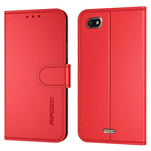 FMPC Handyhülle Kompatibel mit Xiaomi Redmi 6A Hülle, PU Lederhülle Flip Hülle Wallet Cover für Xiaomi Redmi 6A Tasche Schutzhülle [Kartensteckplätze][Magnetic Closure Snap], Rot