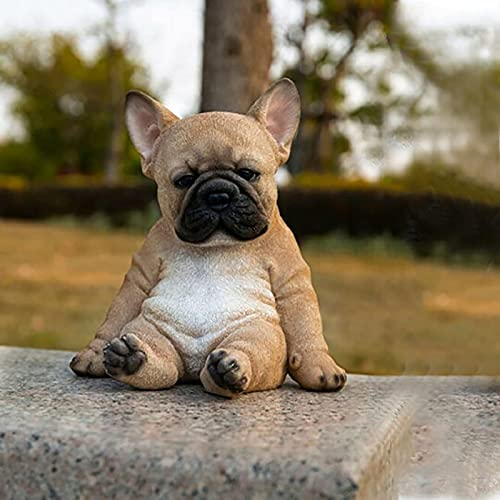 Sleepy French Bulldog Puppy Statue,Resin Lawn Sculpture Super Cute Garden Yard Decor,Realistic Figurine,Sleeping Dog Statues Home Decor,Garden Gnome Statue Indoor Outdoor Sculpture