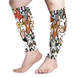 Men Women Night Funny Cats Calf Compression Sleeve Colored Leg Support Calf Guards Sleeves Calf Pain Relief for Running