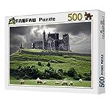FAWFAW Wooden Jigsaw Puzzles, 500 Piezas, La Roca De Cashel, Irlanda Pastizales Ovejas