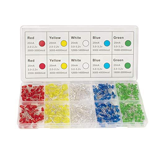 DiCUNO 450pcs(5 Farben x 90pcs) 5mm LED Dioden Leuchtdioden 2-3.2V Rund Farbe Sortiert Weiß/Rot/Gelb/Grün/Blau Kit Box