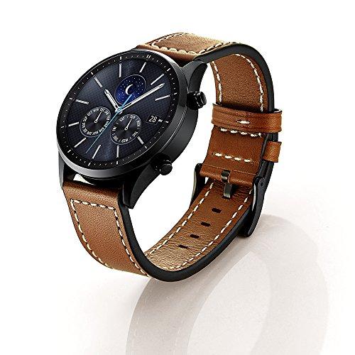 SUNDAREE Kompatibel mit Gear S3 Classic/Frontier/Galaxy Watch 46MM Armband,22MM Echt Lederband Ersatz Armband Strap Uhrenarmband für Samsung Galaxy Watch 46/Gear S3 Frontier/Classic(S3 Braun Leder)