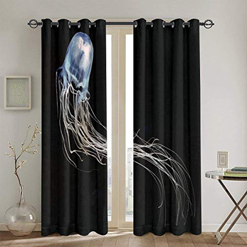 Home Decorations Thermal Insulated Solid Grommet Top Blackout Living Room Curtains/Drapes for Gift(52 X 84 Inch)