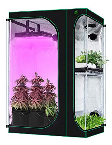 Lovinouse 2 in 1 Mylar Hydroponic Grow Tent, 36 x 24 x 53 inch Indoor Growing System with Observation Window, Tool Bag, Grow Tent Kit for Vegetables, Flowers