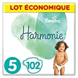 Pampers - Harmonie - Couches Taille 5 (11-16kg) Hypoallergénique - Lot economique (102 couches)