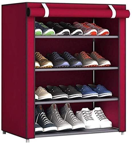 XWZH Zapatero a prueba de polvo de 4 niveles con cubierta, organizador de almacenamiento de zapatos de 12 pares, 23.6 x 11.8 x 28.3 pulgadas (color rojo vino)