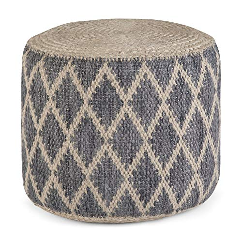 Simpli Home Edgeley Round Pouf, Footstool, Upholstered in Grey, Natural Woven Braided Jute and Cotton, for the Living Room, Bedroom and Kids Room, Boho, Contemporary, Modern