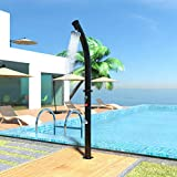 JAXPETY 7.2 FT Solar Heated Shower with Free-Rotating Shower Head Temperature Adjustment & Faucet, 2-Section Outdoor Shower for Patio Beach Poolside, 4.8 Gallon, Black