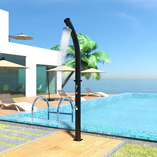 Canditree Outdoor Poolside Shower Wood with Shower Head for Backyard Garden Beach Pool