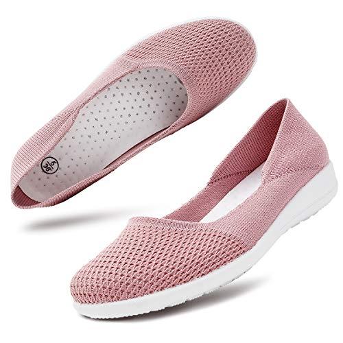 hash bubbie Women's Casual Sneakers Slip on Shoes Mesh Tennis Shoes Work Nurse Flat Shoes(8.Pink