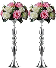 Nuptio 2 Pcs Versatile Metal Flower Arrangement, Candle Holder Stand Set Candlelabra for Wedding Party Dinner Centerpiece Event Road Lead Restaurant Hotel Decoration (Silver, 19.7