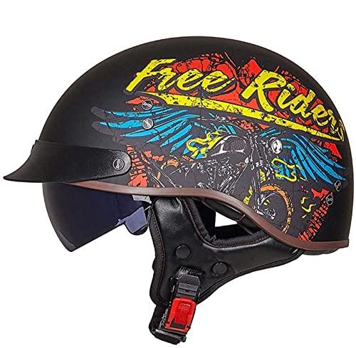 Cascos Moto Cascos Half-Helmet Abierto Medio Casco e Motocicleta Retro ECE Homologado con Visera Cascos Vintage Style Helmet Bici Viaje Crucero Scooter Bicicleta para Adultos Hombres Mujeres 7,M