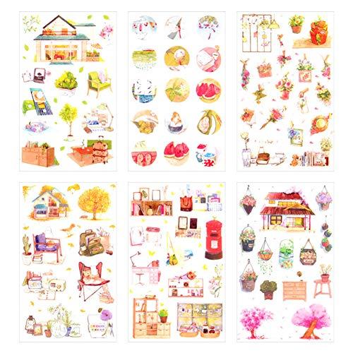 Demarkt Pegatinas de mariposas para niños y niñas, para scrapbooking, diario, álbum de fotos, decoración DIY, 6 unidades, papel, H, 8x16cm