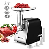 Electric Meat Grinder 2000W, Meat Mincer with 3 Grinding Plates and Sausage Stuffing Tubes for Home Use &Commercial, Stainless Steel/Silver/2000W (Max)