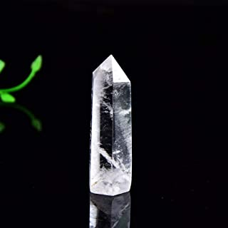 QXFD Natural Crystal Transparency Quartz Point Healing Stone Hexagonal Prisms 50-80mm Obelisk Wand Treatment Stone Home Decor (Color : Crystal, Size : 61 70)