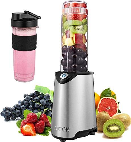Aicok Mini Blender Portable Blender Smoothie Mélangeur de Fruits pour Smoothie, Milk-shake,Jus de Fruits, Mixeur Electrique Multifonction de 600 ml, Sans-BPA et Corps en Inox (Pink)
