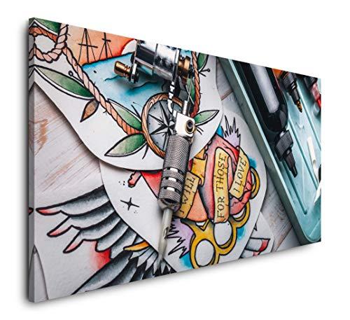 Paul Sinus Art Tattoo Studio 120x 60cm Panorama Leinwand Bild XXL Format Wandbilder Wohnzimmer Wohnung Deko Kunstdrucke