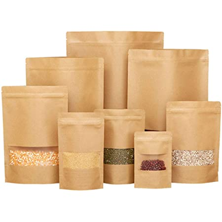 Kraft Brown Paper Bag with Window and Heat Seal //Food Grade