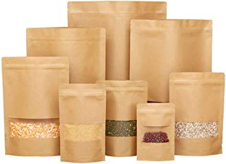 50 pcs Kraft Bags with Window Stand Up Ziplock Seal Paper Bag Resealable Large Food Storage Pouch 1oz 3.5×5.5in