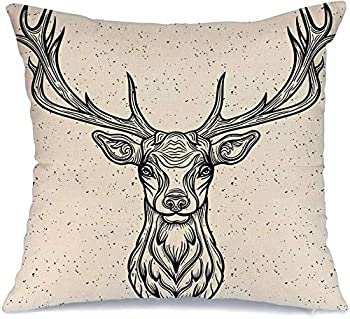 Pillowcase Whitetail Horned Deer Graphic Head Texture White Design Rack Animals Tattoo Wild Wildlife Vintage Soft Decorative Throw Pillow Cover Cushion Case Home Decor for Couch Car 20x20 Inch