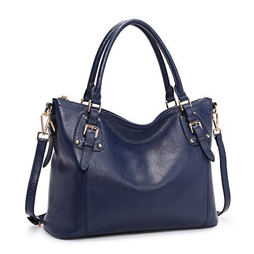 Kattee Women's Genuine Leather Handbags Shoulder Tote Organizer Top Handles Crossbody Bag Satchel Designer Purse (X-Large, Blue)