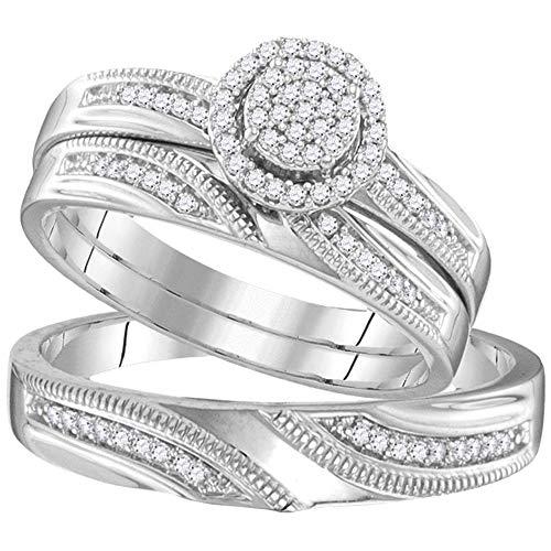 Juego de anillos de boda de plata de ley con diamantes redondos a juego para él y para ella, 1/4 quilates.