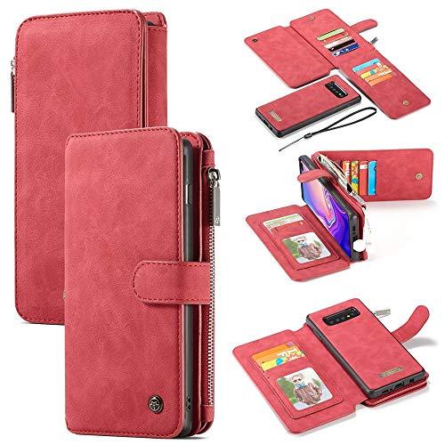 Aralinda 14 ranuras para tarjetas, diseño 2 en 1, desmontable, delgada, de piel sintética, funda tipo cartera, compatible con Samsung Galaxy S10 (6,1 pulgadas), color rojo