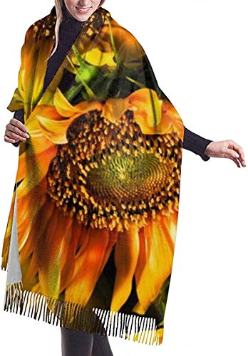 'Kerst Day 's gift vrouwen mode lange sjaal winter warm oranje zonnebloem behang grote sjaal kasjmier gevoel sjaal