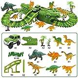 Stronrive 153 Stück Autorennbahn Dinosaurier Track Spielzeug Auto Rennstrecken Speedway Cars Rennbahn Set Magic Twister Tracks Autorennbahn für Kinder