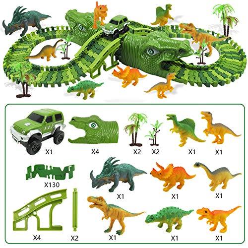 Suppemie Circuito Coches Juguete Pista De Dinosaurio Coche Eléctrico 153 Pistas Flexibles...