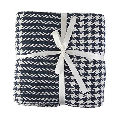 Valuax - Manta de algodón para cama (130 x 170 cm), color azul oscuro