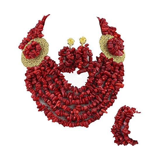 AfricanBeads rojo Coral africano de seis filas perlas novia joyería Set Coral de Nigeria Juego de joyas de boda novia regalo