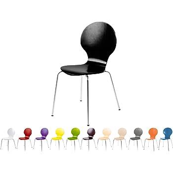 Stapelstuhl Bistrostuhl Stuhl Esszimmerstuhl Küchenstuhl Design Metall Holz stapelbar sehr belastbar Marcus (Schwarz)