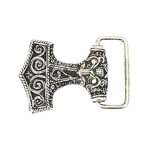 Mjoelnar LARP - Hebillade cinturón, diseño de martillo de Thor, vikingo, medieval, plata o bronce, marrón