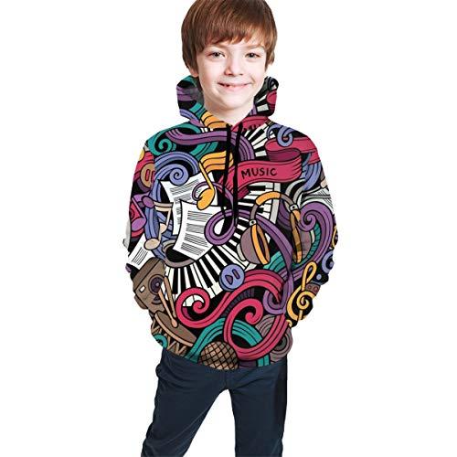 kinkph tiener hooded sweatshirts, muziek thema hand getrokken abstract instrumenten microfoon drums toetsenbord Stradivarius