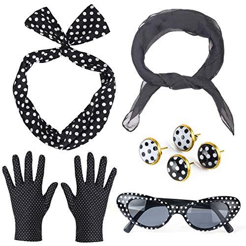 Haichen 50's vrouwen kostuum accessoires set chiffon sjaal polka dot bandana stropdas hoofdband handschoenen oorbellen retro cat eye zonnebril (Zwart)