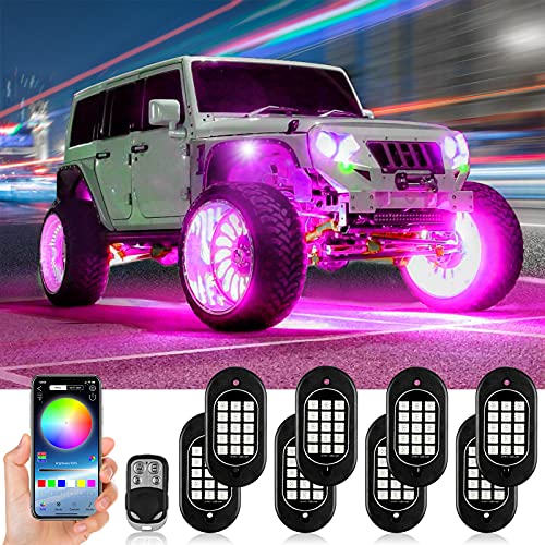 KEYMAO RGB LED Rock Lights Multicolor Underglow Neon Lights Waterproof 120 LEDs Car Light Kit with...