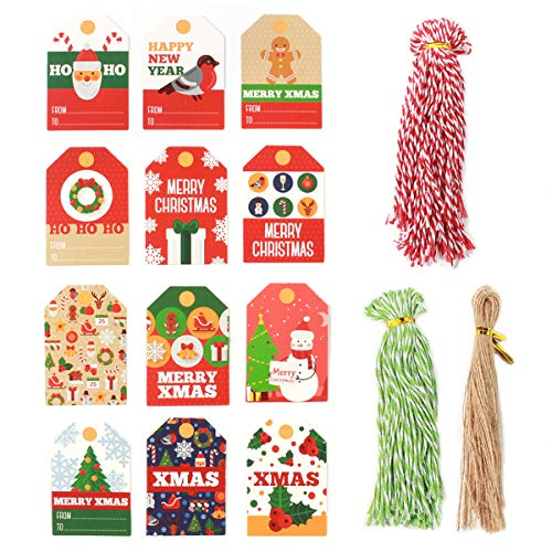 144 Pack Christmas Paper Gift Tags, Pre-Punched Xmas Paper Tags for DIY Xmas Holiday Present Wrap Stamp and Label Package Name Card