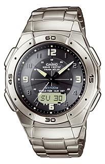 Casio WVA-470TDE-1AVEF Analog and Digital Quartz Multifunction Watch, Titanium, Chronograph, Time Zones, 3 Alarms, Solar, Titanium Bracelet (B001D03EUE) | Amazon price tracker / tracking, Amazon price history charts, Amazon price watches, Amazon price drop alerts
