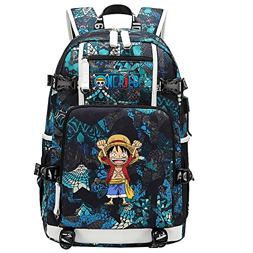 ZZGOO-LL One Piece Monkey·D·Luffy/Roronoa Zoro Anime Backpacks Student School Bag Laptop Backpack with USB Charging Port-E