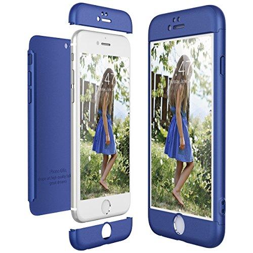 CE-Link Cover per Apple iPhone 6 6S 360 Gradi Full Body Protezione, Custodia iPhone 6 Silicone Rigida Snap On Struttura 3 in 1 Antishock e Antiurto, iPhone 6S Case Antigraffio Molto Elegante - Blu
