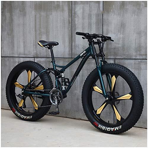 Liu Yue Erwachsenen Mountainbike MTB, 26 Zoll Vollfederung MTB Fahrrad für Herren und Damen, Zwei Scheibenbremsen, Fette Reifen Fahrrad,Green 5 Spokes,7 Speed