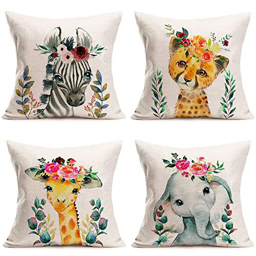 Hopyeer Spring Decorative Lovely Watercolor Animals Throw Pillow Covers Cute Baby Zebra Leopards Giraffe Elephant Green Leaves Flowers Cotton Linen Pillow Cushion Case Cover 18'x18' 4Pcs (SL-Animals)
