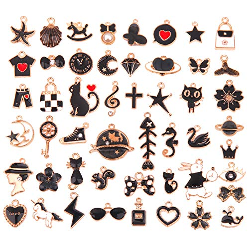 LITMIND 50 Pcs Cute Enamel Charms for Jewelry Making Bulk lot Rhinestone Necklace Pendants Earrings Bracelet Designer for DIY Crafting Charms (Black)