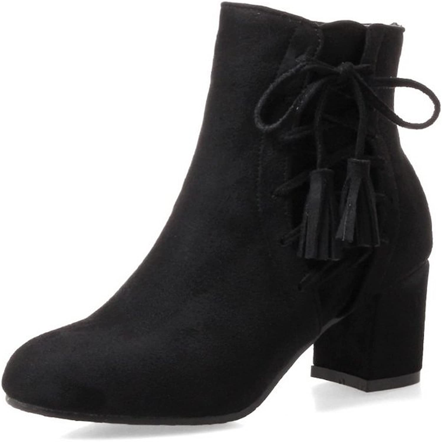 A&N Womens Boots Closed-Toe Elastic Adjustable-Strap Kitten-Heel Warm Lining Solid Not_Water_Resistant Charms Wedges Suede Boots DKU01687