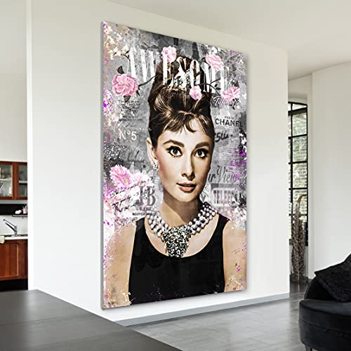 Kunstgestalten24 WTD Audrey Hepburn - Cuadro de pared (cristal acrílico,