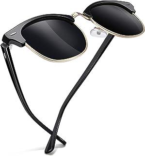 Joopin Semi-Rimless Sunglasses for Women Men, Horn Rimmed Half Frame Sunglasses Polarized