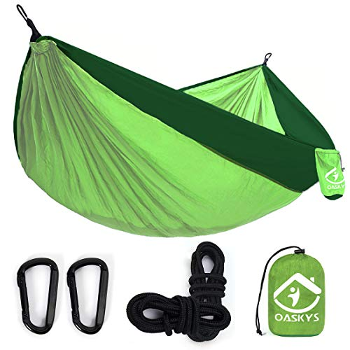 oaskys Camping Hammock Double with 2 Tree Straps Made of Portable Lightweight Nylon Parachute for Backpacking,Travel,Beach,Yard and Outdoor Survival (Green)