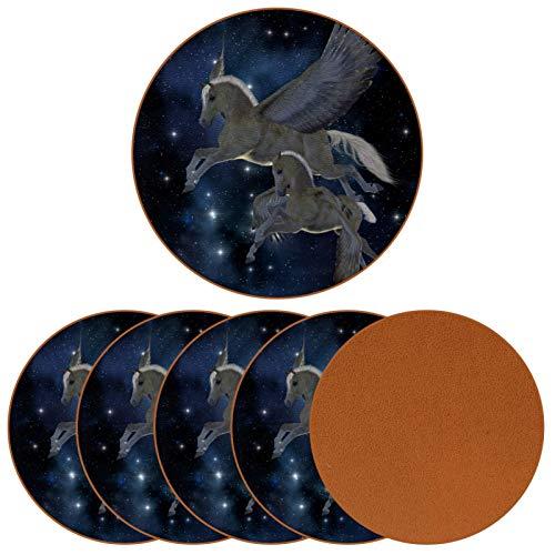 Bennigiry Palomino Pegasus Yegua y Potro en Estrellas de alas mágicas de Cuero Tapetes Redondos Resistentes al Calor para Tazas Taza de café Tapetes Individuales para Tazas de Vidrio, 6 Piezas